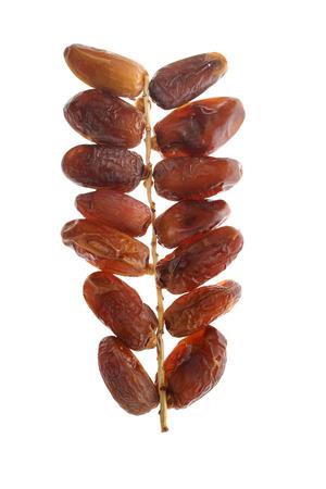 Dried dates (Phoenix dactylifera l) isolated on white background