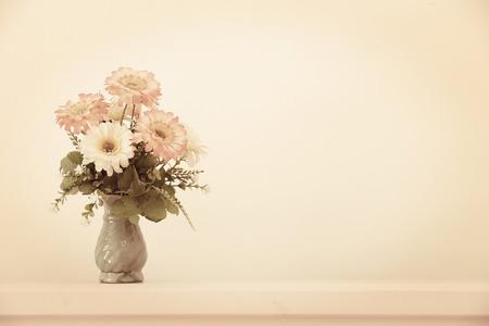 Flower bouquet on headboard - vintage effect style.