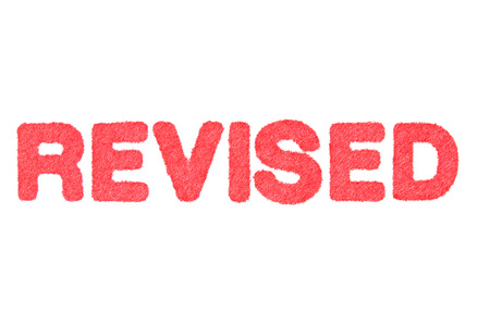 revise: REVISE! red Rubber Stamp isolated on white background.