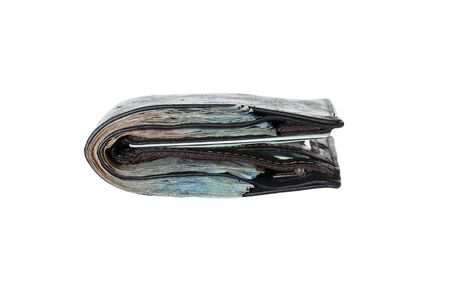 batch of euro: Money in black leather wallet isolated on white background. Stock Photo