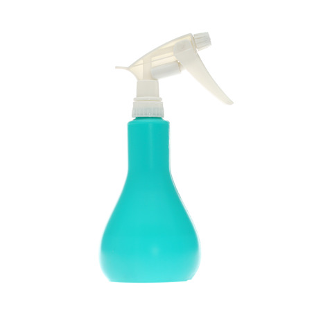 woman squirt: Spray bottle isolated on white background. Stock Photo
