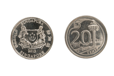 cents: Singapore coin 20 cents isolated on white background.