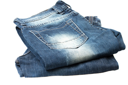 fashion clothing: Blue jeans isolated on a white background.