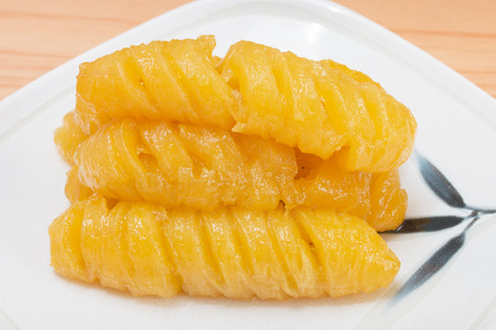 Banana boiled with syrup (Thai dessert).