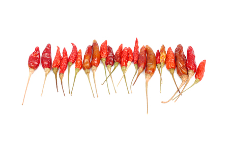 chili peppers: Dried hot chili peppers on white background. Stock Photo