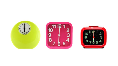 reveille: Set of alarm clock isolated on white background. Stock Photo