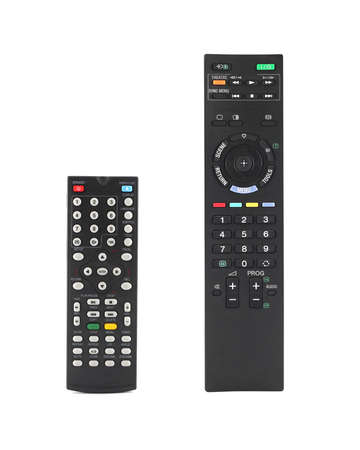 command button: TV remote control isolated on white background. Stock Photo