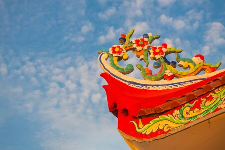 decorative design: Detail of corner roof chinese temple. Stock Photo