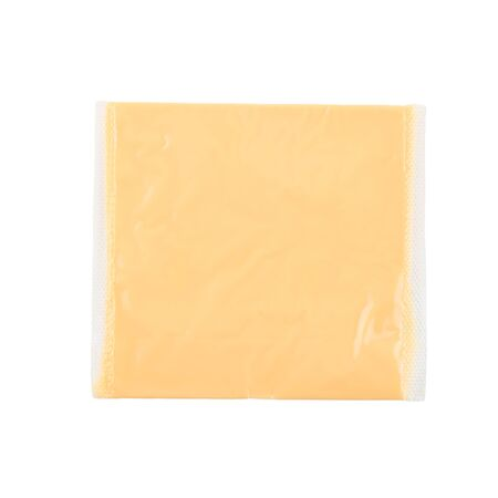 lactic: Slice cheese in package isolated on white background