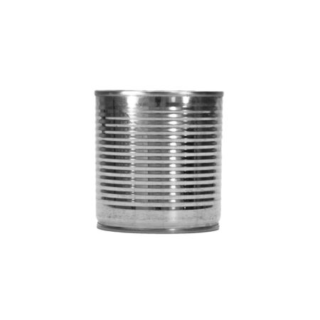 tinned goods: metal tin can on white background. Stock Photo