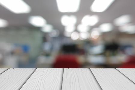 tiefe: Holz mit abstrakten Unschärfe Büro Hintergrund.