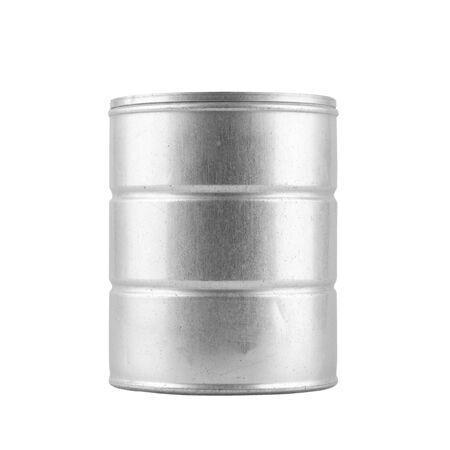 tinned goods: metal tin can on white background - clipping path. Stock Photo