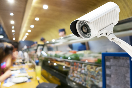 Security CCTV camera or surveillance system in japanese restaurant.