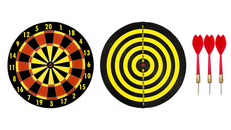 dart target board and red dart arrow isolated on white background.