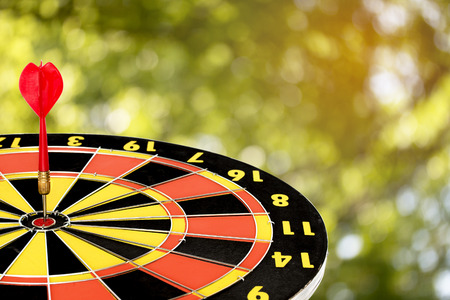 dart target board, abstract of success with abstract nature bokeh blur background. Stock Photo