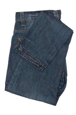 Folded blue jeans isolated on white background Stock Photo