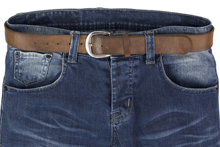 blue jeans with leather belt isolated on a white background Stock Photo