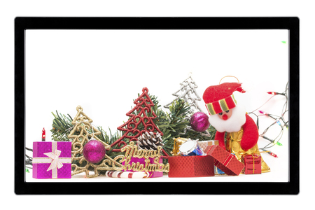 christmas decoration with tv isolated on white background stock photo 97932799
