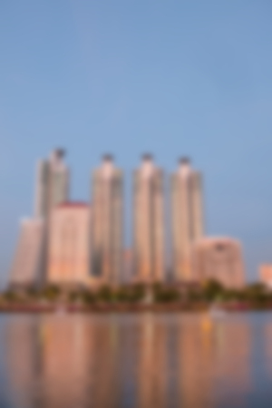 abstract blur of building in downtown with river