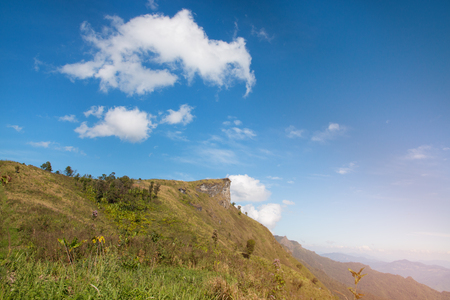 mountain with blue sky at Phu Chee Pha in chiangrai province Thailand (southeast asia)