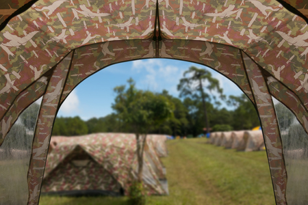 Tent lookout on a camp in the meadow Stockfoto