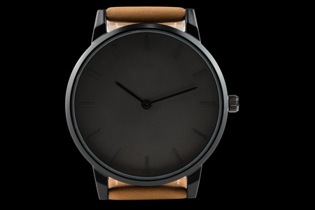 wristwatch isolated on black background