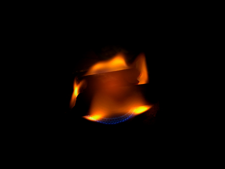 Fire flame on black background.