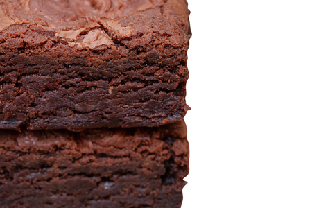 homemade cake chocolate brownies isolated on white background - clipping paths