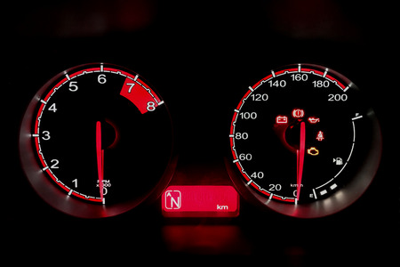 Close-up dashboard of mileage a car