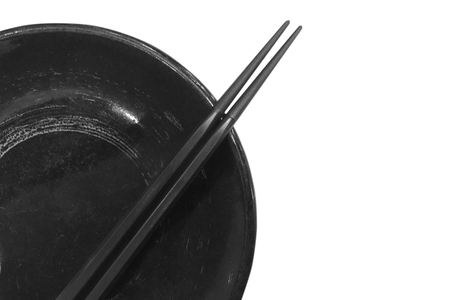plate and chopsticks isolated on white background - clipping paths