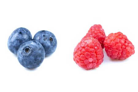 blueberry and raspberry on white background