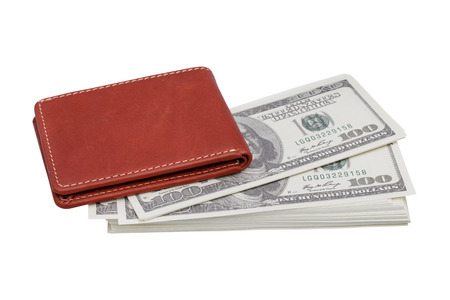 Brown wallet with money isolated on white background - clipping paths