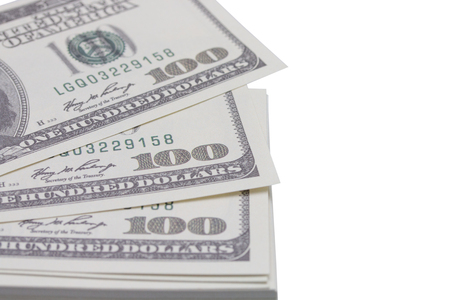Stack of hundred dollars isolated on white background - clipping paths