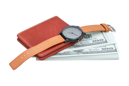 wallet and wristwatch with money isolated on white background - clipping paths