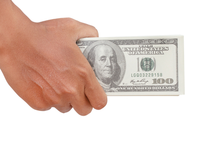 Male hand holding money US dollar isolated on white backround - clipping paths Stockfoto