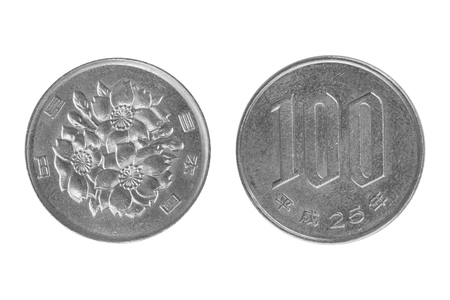 Coin 100 yen. Japan isolated on white background - clipping paths