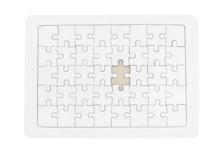 White jigsaw puzzle isolated on white background - clipping paths. Stockfoto