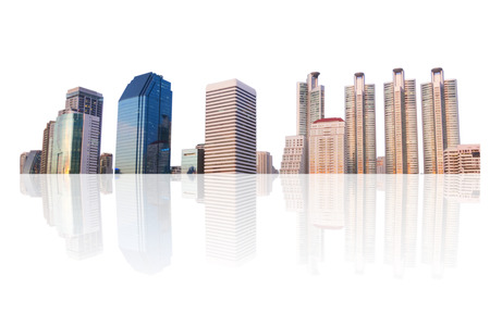 building in panoramic view, cityscape in bangkok isolated on white background