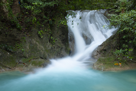 Beautiful waterfall - Erawan waterfall at Erawan National Park in Kanchanaburi, Thailand.