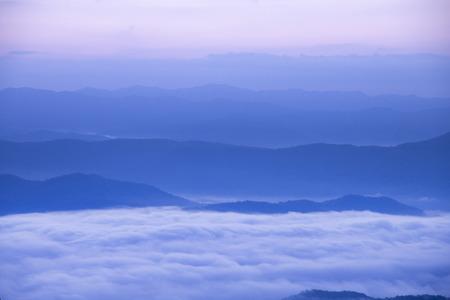 beautiful scene, mountain vew has a beautiful morning mist.