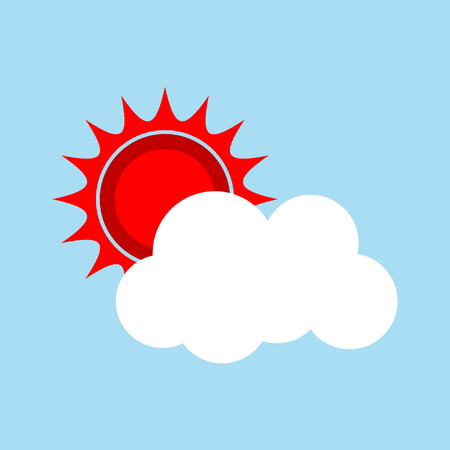 sun and cloud icon for web. vector illustration. Stock Illustratie