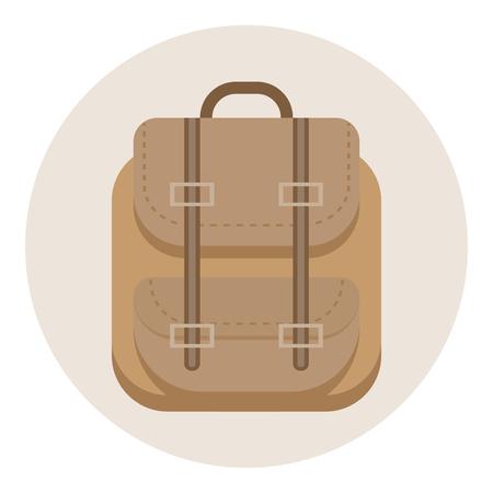 Backpack icon. Flat design - vector illustration.