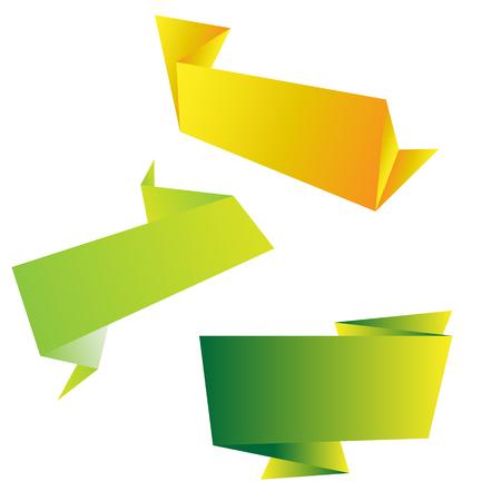 Set of origami banners for web design, vector illustration. Stock Illustratie