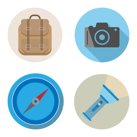 Travel or vacation accessories flat design. backpack, camera, compass and flashlight for holiday, vector illustration