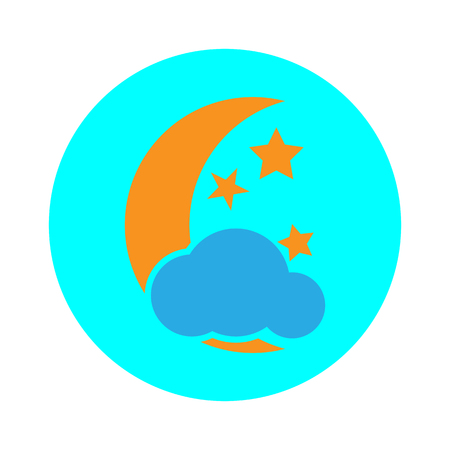 moon with clouds icon for web design. vector illustration.