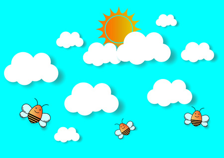 sun and cloud with bee, cuted paper design. vector illustration.