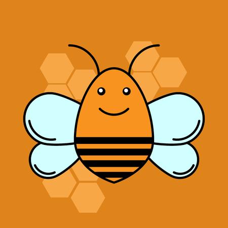 Bee icon. Flat design. vector illustration.