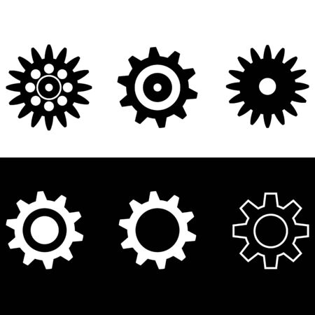 gears sign simple icon flat design. vector illustration.