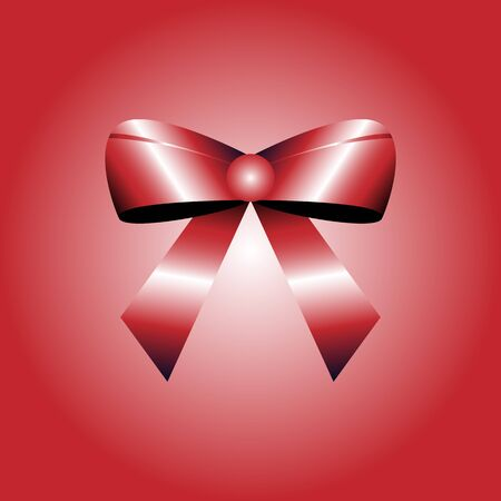 Red bow over red background. vector illustration.