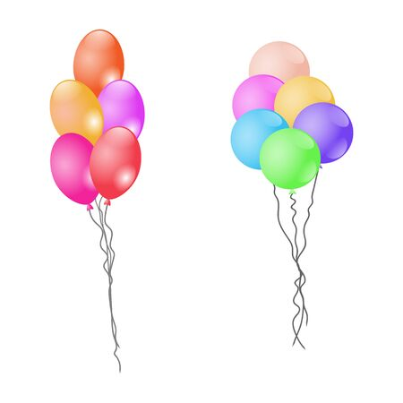 Colorful balloons isolated on white background. Vector Illustration